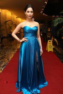 Actress Tamannaah Pictures in Blue Long Dress at Abhinetri Audio Launch  0223.jpg