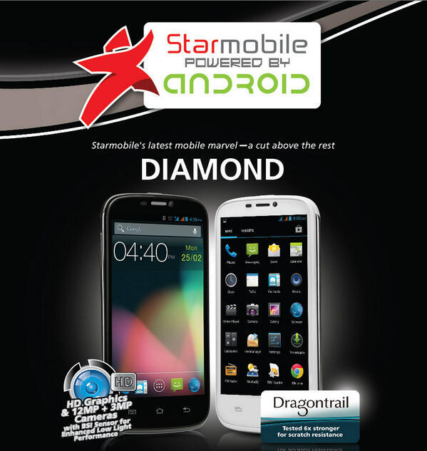 Star is set to Shine with the new Starmobile Diamond Android Phone in HD Graphics