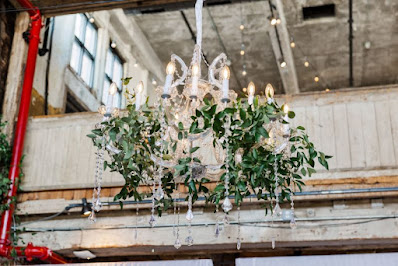 The Greenpoint Loft Wedding with Chrystal Chandelier