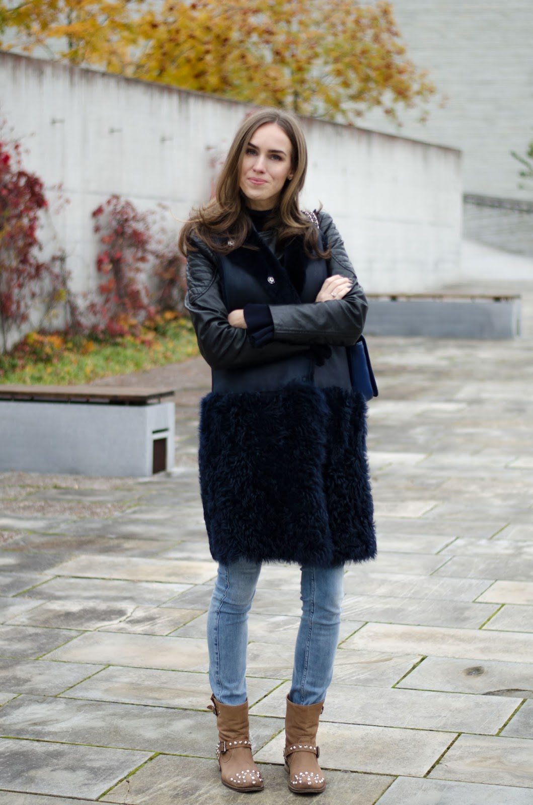 shearling coat fall outfit