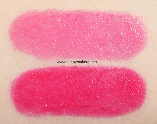 Swatch Pupa - Dot Shock. Collezione primavera 2016. Rossetti Miss Pupa. Dall'alto verso il basso: 002 Fair Pink, 003 Shock Fuchsia.