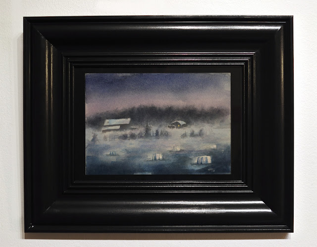 Winter watercolour painting of fog