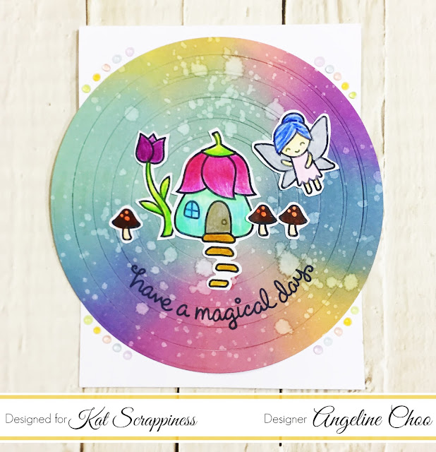 ScrappyScrappy: Rainbow Oxide Fairy Circle Card with Kat Scrappiness #scrappyscrappy #katscrappiness #lawnfawn #timholtz #tonicstudios #nuvojeweldrops #fairyfriends #katscrappinessdie #diecut #neverendingdie #circlecard #rainbowcard #rainbow #rainbowbackground #distressoxides #stamp #stamping #card #cardmaking #youtube #processvideo #quicktipvideo #coloredpencils #colleencoloredpencils