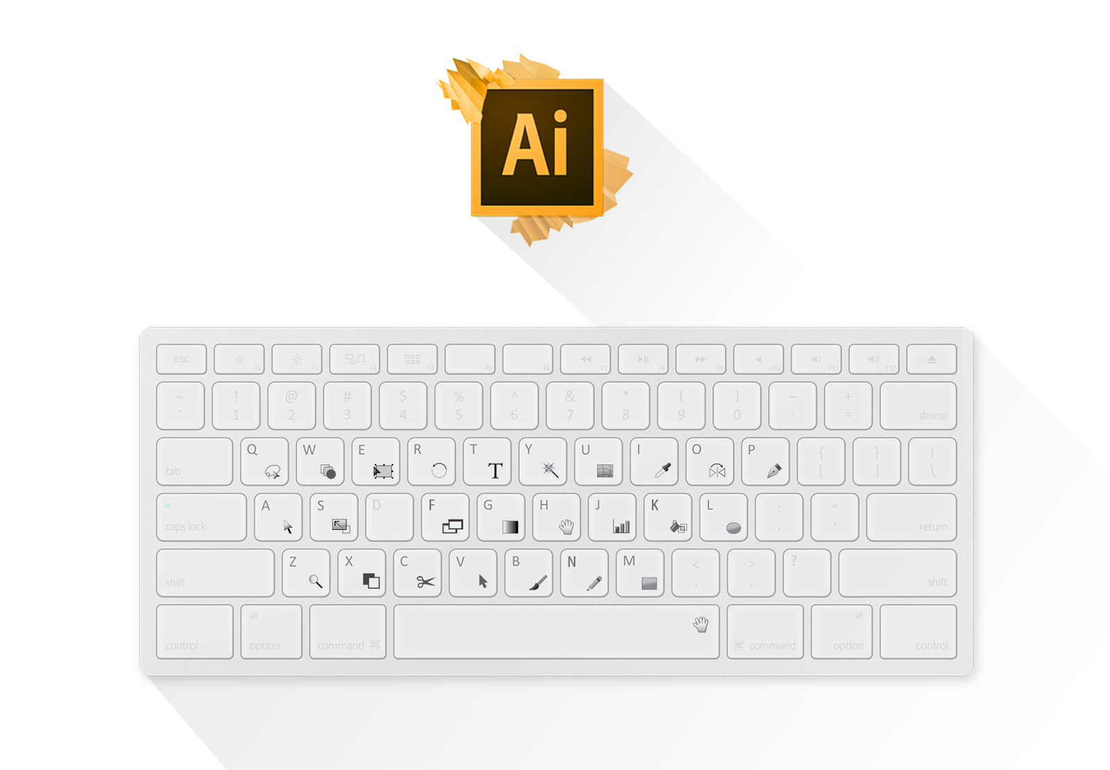 Default keyboard shortcuts in Adobe Illustrator