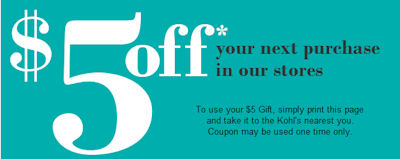 KOHLS $5 OFF ONLINE COUPON