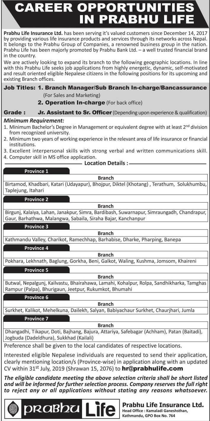 Prabhu Life Insurance Vacancy Notice
