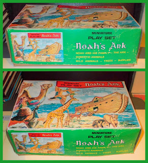 Bible Toy, Biblical Toy, Blue Box, Domestic Animals, Farm Animals, Hong Kong Noah's Ark, Made In Hong Kong, Miniature Play Set, MRS, Noah, Noah's Ark, Plastic Animals, Small Scale World, smallscaleworld.blogspot.com, Tai Sang, The Ark, Toy Animals, Wild Animals, Zoo Animals, 1 MRS Noah's Ark Made In Hong Kong, Miniature Play Set Plastic Animals People Bible Story 2 Close up of Box and Box art front and side