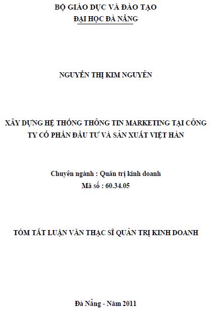 Xây dựng hệ thống thông tin marketing tại Công ty Cổ phần Đầu tư và Sản xuất Việt Hàn
