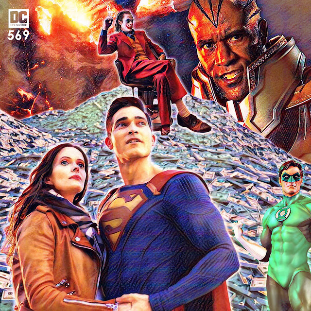 Superman and Lois look into the middle distance. In the background, Green Lantern readies his mighty ring for the series forthcoming as Joker sits atop a massive pile of cash. And looking on? Mar Novu, the Monitor awaits the Crisis on Infinite Earths.