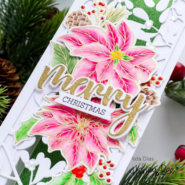 Honey Bee Stamps, Holiday Cheer, Blog Hop, PRETTY POINSETTIAS,  PRETTY POINSETTIAS DIES, MISTLETOE SLIMLINE COVER PLATE, Merry Christmas, Mistletoe Slimline, Poinsettia Card, Card Making, Stamping, Die Cutting, handmade card, ilovedoingallthingscrafty, Stamps, how to, Christmas Card,