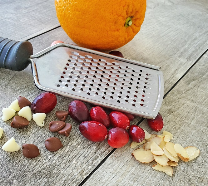 these are the ingredients that will go into making orange, cranberry almond biscotti