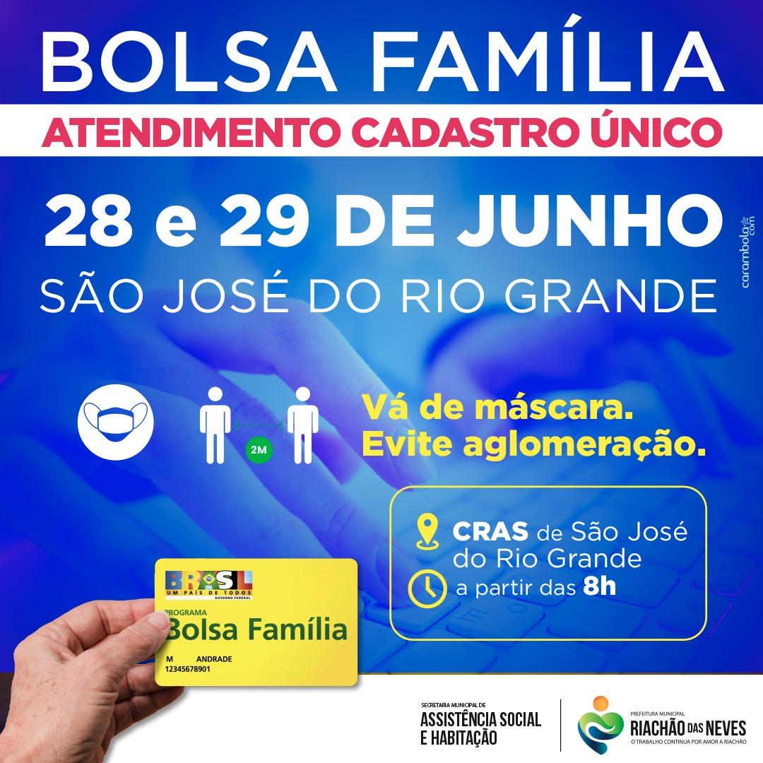 ATENÇÃO PARA O ATENDIMENTO DO CADASTRO ÚNICO! Dias 28 e 29 de junho a comunidade de São José do Rio Grande que necessita de atendimento deverá ir até o CRAS, a partir das 08 horas. Não esqueça da máscara e de evitar aglomeração.