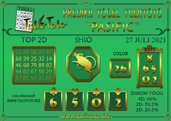 Prediksi Togel PASIFIC TULISTOTO 27 JULI 2021