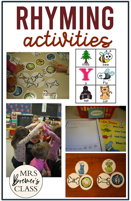 Rhyming activities for Kindergarten and First Grade