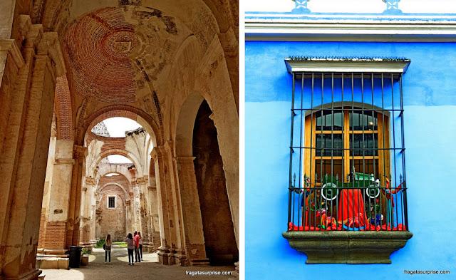 Antigua Guatemala: ruínas da Catedral e um típico balcão colonial