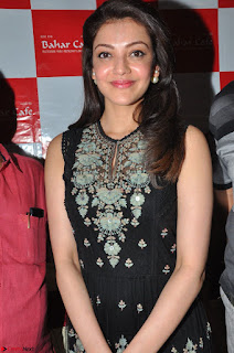 Kajal Aggarwal in lovely Black Sleeveless Anarlaki Dress in Hyderabad at Launch of Bahar Cafe at Madinaguda 029.JPG
