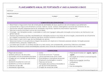 PLANEJAMENTO ANUAL DE PORTUGUÊS - 4º ANO ALINHADO À BNCC