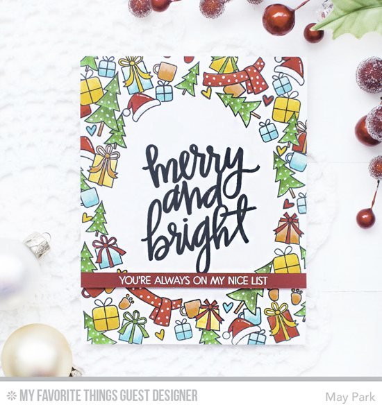 Handmade card from May Park featuring Merry Everything, Hand-Lettered Christmas, and Birdie Brown Beast Friends stamp sets #mftstamps