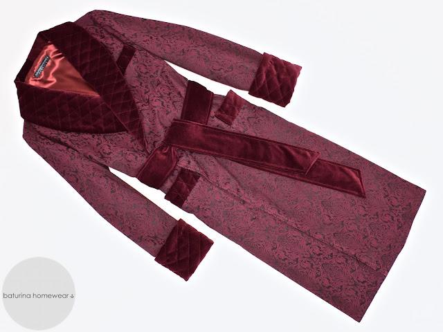 Men's burgundy velvet dressing gown smoking jacket quilted silk robe red paisley full length warm