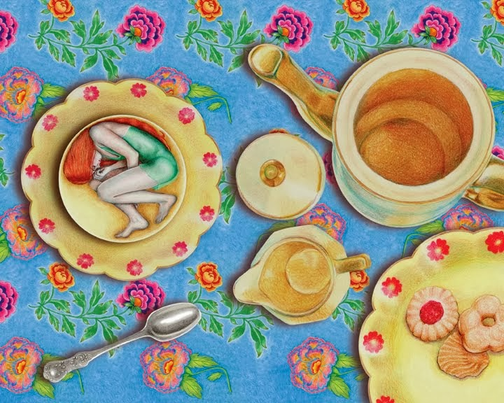 A Teatime Doze ~ Colored Pencil