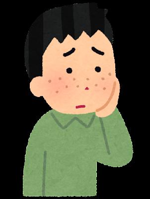 シミ・ソバカスを気にする人のイラスト(男性)