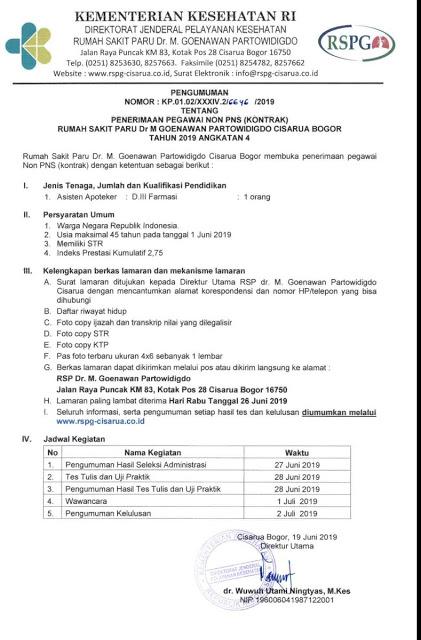 Lowongan Kerja RSPG Cisarua Bogor Juni 2019