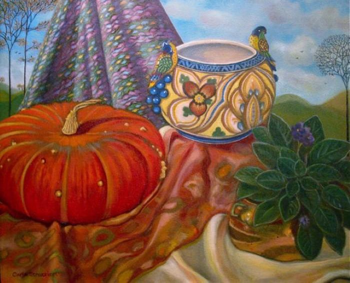 В традиционной технике масляной живописи. Carla Strozzieri