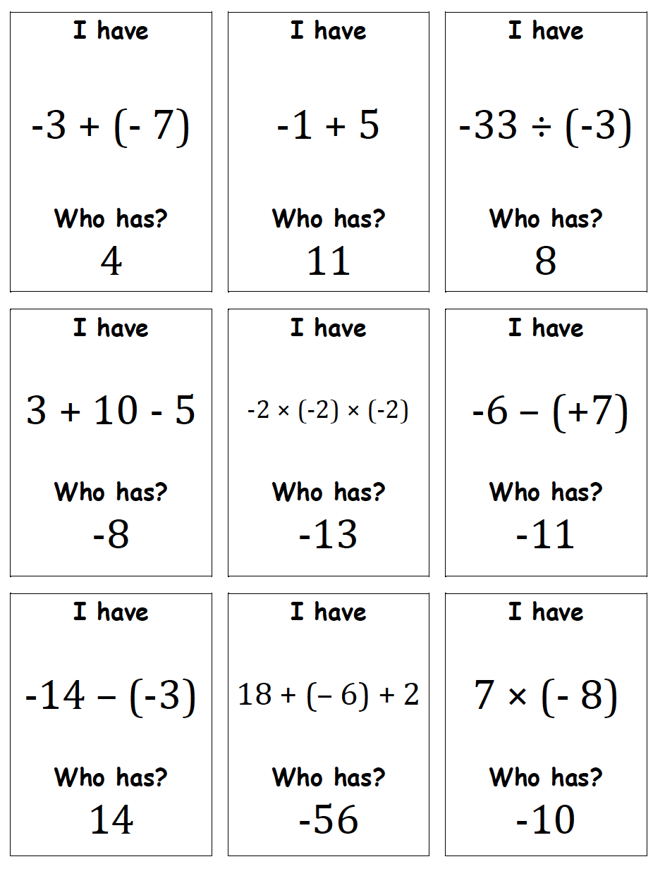 Engaging Math: I Have, Who Has - Integers