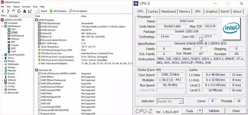 Intel Core i7-11700 AIDA64 Extreme CPU-Z Göstergesi