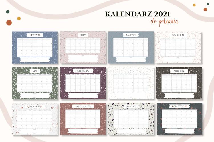 kalendarz 2021 do druku kwiatowy
