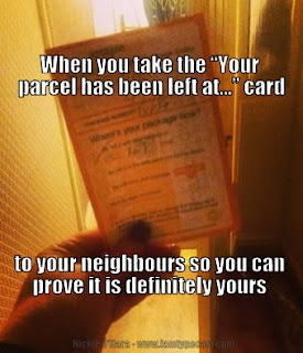 Things I Learnt In January - parcel collection meme