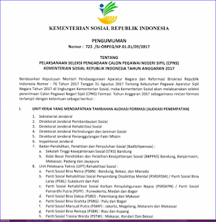 Seleksi Penerimaan CPNS (Calon Pegawai Negeri Sipil) Kementerian Sosial Tahun Anggaran 2017
