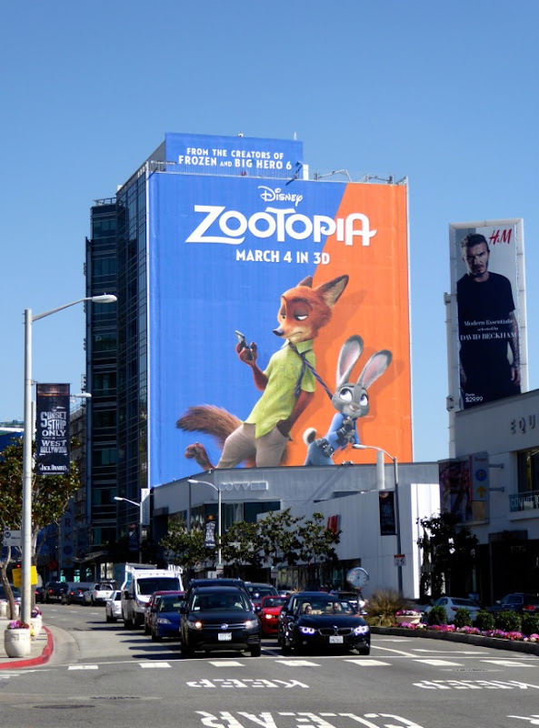 Giant Disney Zootopia film billboard