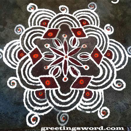 Rangoli Designs with simple white border
