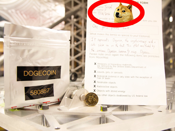 A gold-plated coin representing the popular cryptocurrency Dogecoin will fly aboard Astrobotic's Peregrine lander to the Moon's surface later this year.