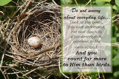 Do not worry about everyday life... you count far more to Him than birds. Matthew 6:25-26