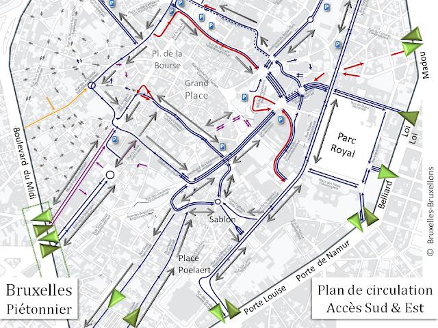 Bruxelles - Piétonnier du centre-ville - Accès côté Sud & Est - Modification du plan de circulation 2016 - Bruxelles-Bruxellons