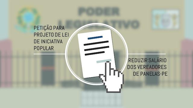 REDUZIR SALÁRIO  DOS VEREADORES  DE PANELAS-PE