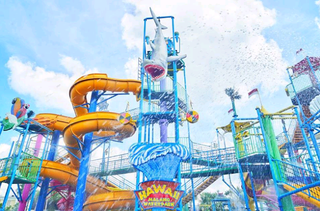 Hawai waterpak, waterpark terbaru malang, harga tiket waterpark malang