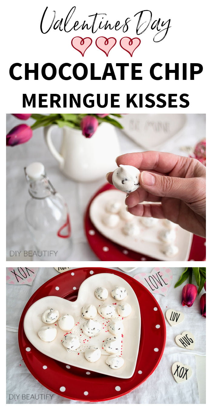 Valentine's Day dessert recipe - chocolate chip meringue  kisses