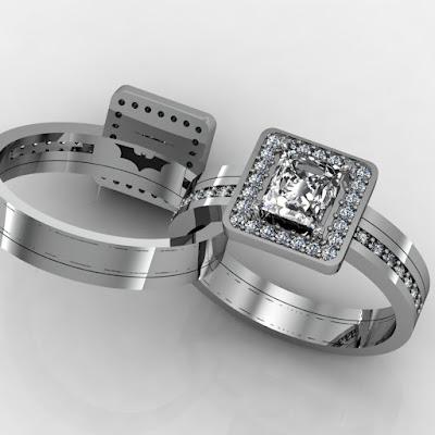 Unique Batman Wedding Ring With Diamond