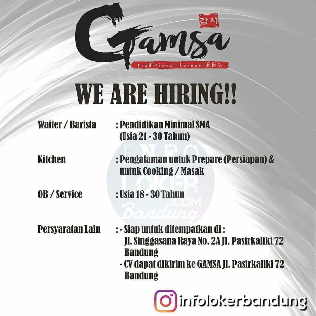 Lowongan Kerja Gamsa Traditional Barbeque Bandung Agustus 2018