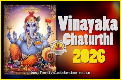 2026 Vinayaka Chaturthi Vrat Yearly Dates, 2026 Vinayaka Chaturthi Calendar