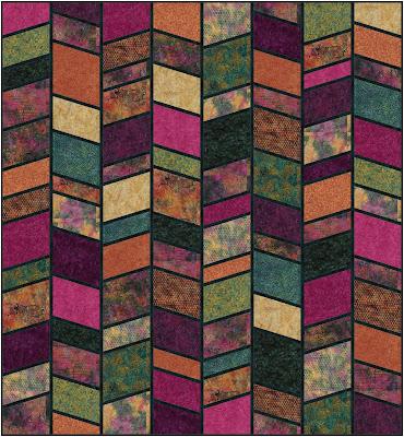 Split Arrows quilt in Peacock Plumes fabrics by Island Batik
