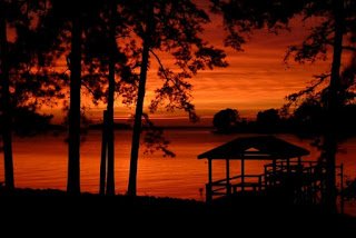 A sunset and silhouette of trees and a patio next to a lake
