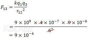 gaya tarik-menarik antara muatan q1 dan q3, gaya coulomb
