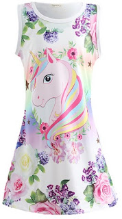 Unicorn Flower Print Girls Sleeveless Dress
