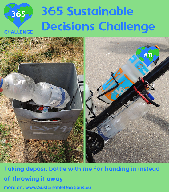 #11 - Taking deposit bottle with me for handing in instead of throwing it away, recycling, sustainable living, sustainability, climate action