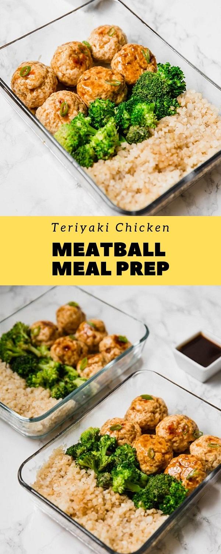 Paleo Teriyaki Chicken Meatball Meal Prep