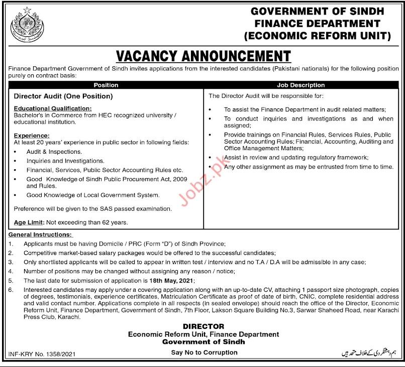 Economic Reform Unit ERU Finance Department April  Jobs 2021